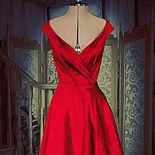 Одежда handmade. Livemaster - original item Red dress-vintage silk taffeta
