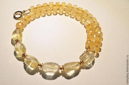 Колье, бусы ручной работы. Ярмарка Мастеров - ручная работа. Купить Ожерелье из солнечного цитрина. Handmade. Ожерелье с цитрином