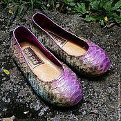 Обувь ручной работы. Ярмарка Мастеров - ручная работа Балетки для маленькой принцессы из натуральной кожи питона. Handmade.