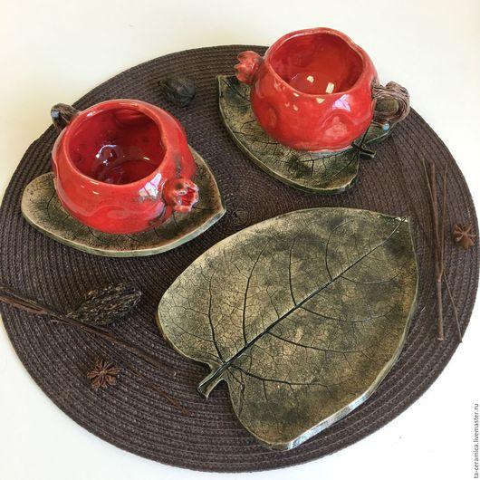"""Сервизы, чайные пары ручной работы. Ярмарка Мастеров - ручная работа. Купить Чайная пара """"Гранат с листочком"""". Handmade. Комбинированный"""