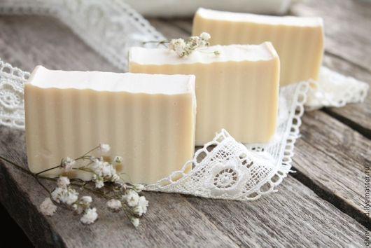 Мыло ручной работы. Ярмарка Мастеров - ручная работа. Купить Натуральное оливковое мыло НЕЖНЫЙ ШЕЛК. Handmade. Белый