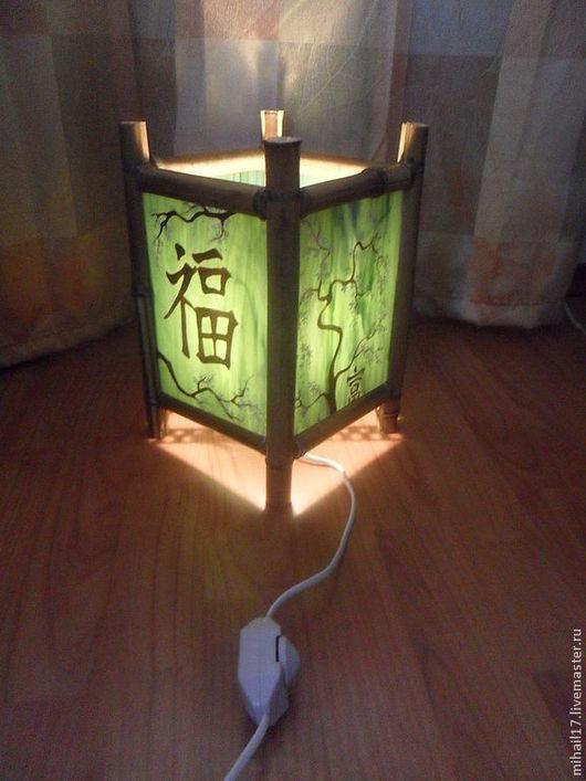 Освещение ручной работы. Ярмарка Мастеров - ручная работа. Купить Светильник в китайском стиле из стекла и бамбука. Handmade. Зеленый, роспись