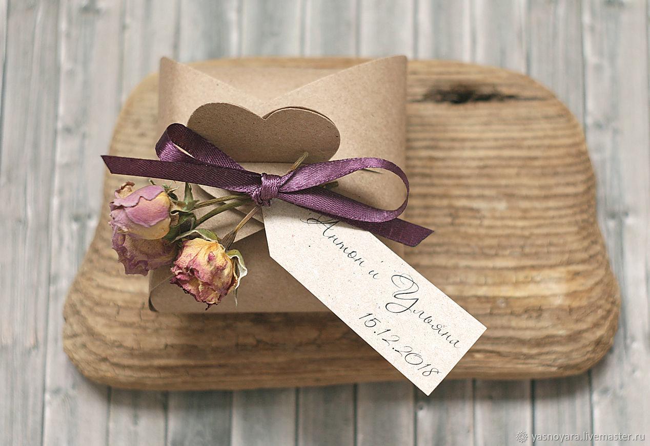 Wedding bonbonniere craft Shabby chic (with dried rose flower), Bonbonniere, Moscow,  Фото №1