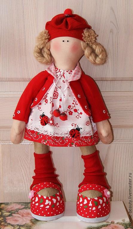 Куклы тыквоголовки ручной работы. Ярмарка Мастеров - ручная работа. Купить кукла Красная шапка. Handmade. Ярко-красный