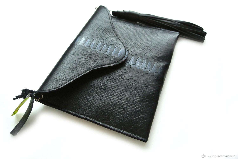 16795c84a406 Женские сумки ручной работы. Ярмарка Мастеров - ручная работа. Купить BIG  Черный Кожаный Клатч ...