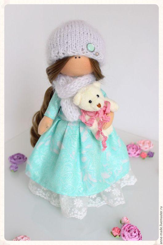 Человечки ручной работы. Ярмарка Мастеров - ручная работа. Купить Текстильная кукла Leya. Handmade. Мятный, кукла интерьерная