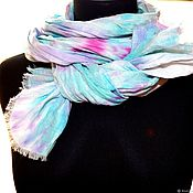 Scarves handmade. Livemaster - original item Pressed linen female boho scarf with fringe white pink blue. Handmade.