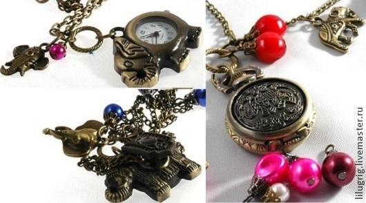 """Часы ручной работы. Ярмарка Мастеров - ручная работа. Купить Часы-кулон """"Слоник резной"""" (3 вида). Handmade. Часы"""