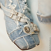 """Обувь ручной работы. Ярмарка Мастеров - ручная работа Скидка! 35 размер, Сапожки """"Листопад"""" джинсовые. Handmade."""