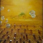 Картины и панно ручной работы. Ярмарка Мастеров - ручная работа Объемная картина Мираж с капустой, мыльными пузырями и божьей коровкой. Handmade.