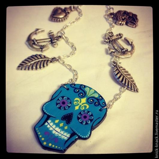 Кулоны, подвески ручной работы. Ярмарка Мастеров - ручная работа. Купить Мексиканский черепок. Handmade. Синий, череп, тату, мексика
