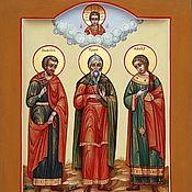 Картины и панно handmade. Livemaster - original item The patron saints of the family are Samon Gury and Aviv.Family icon. Handmade.