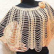 Одежда handmade. Livemaster - original item Poncho-drape Cape knit crochet color tea rose. Handmade.