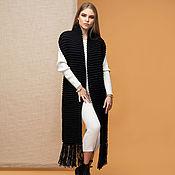 Аксессуары handmade. Livemaster - original item Long black scarf with fringe. Handmade.