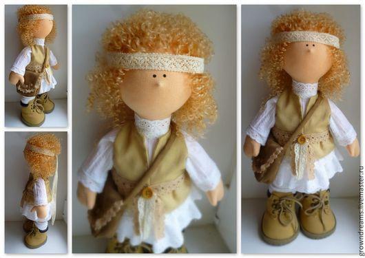 Коллекционные куклы ручной работы. Ярмарка Мастеров - ручная работа. Купить Девочка в стиле бохо. Handmade. Бежевый, интерьерная кукла