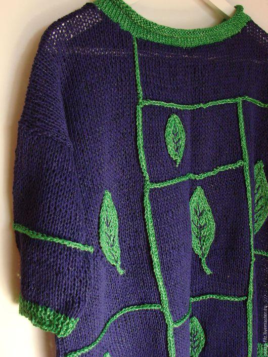 """Кофты и свитера ручной работы. Ярмарка Мастеров - ручная работа. Купить Джемпер """"Зеленый лист"""". Handmade. Фиолетовый, подарок любимой"""
