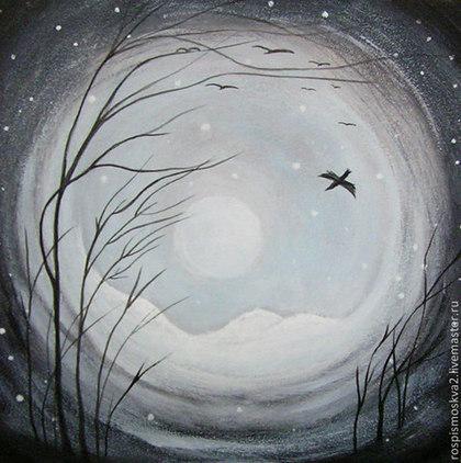 Пейзаж ручной работы. Ярмарка Мастеров - ручная работа Картина  Птицы   акрил  пейзаж  дерево синий. Handmade.