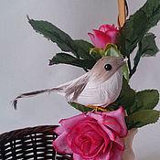 Декор для флористики ручной работы. Ярмарка Мастеров - ручная работа Птичка серо-коричневая ДП16. Handmade.