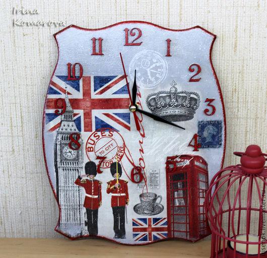 """Часы для дома ручной работы. Ярмарка Мастеров - ручная работа. Купить """"Лондон"""" часы. Handmade. Серый, Великобритания, Декупаж"""