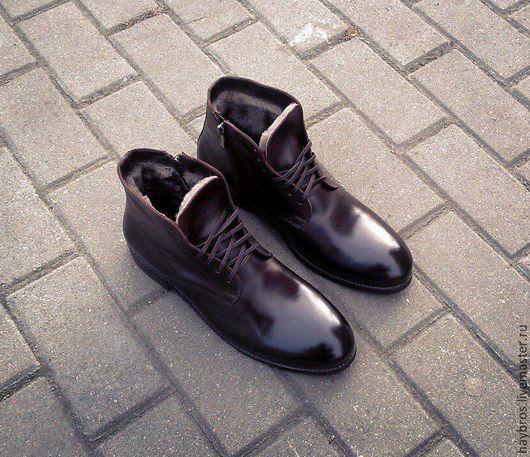 Обувь ручной работы. Ярмарка Мастеров - ручная работа. Купить мужские ботинки. Handmade. Ботинки, мех натуральный, зимняя обувь