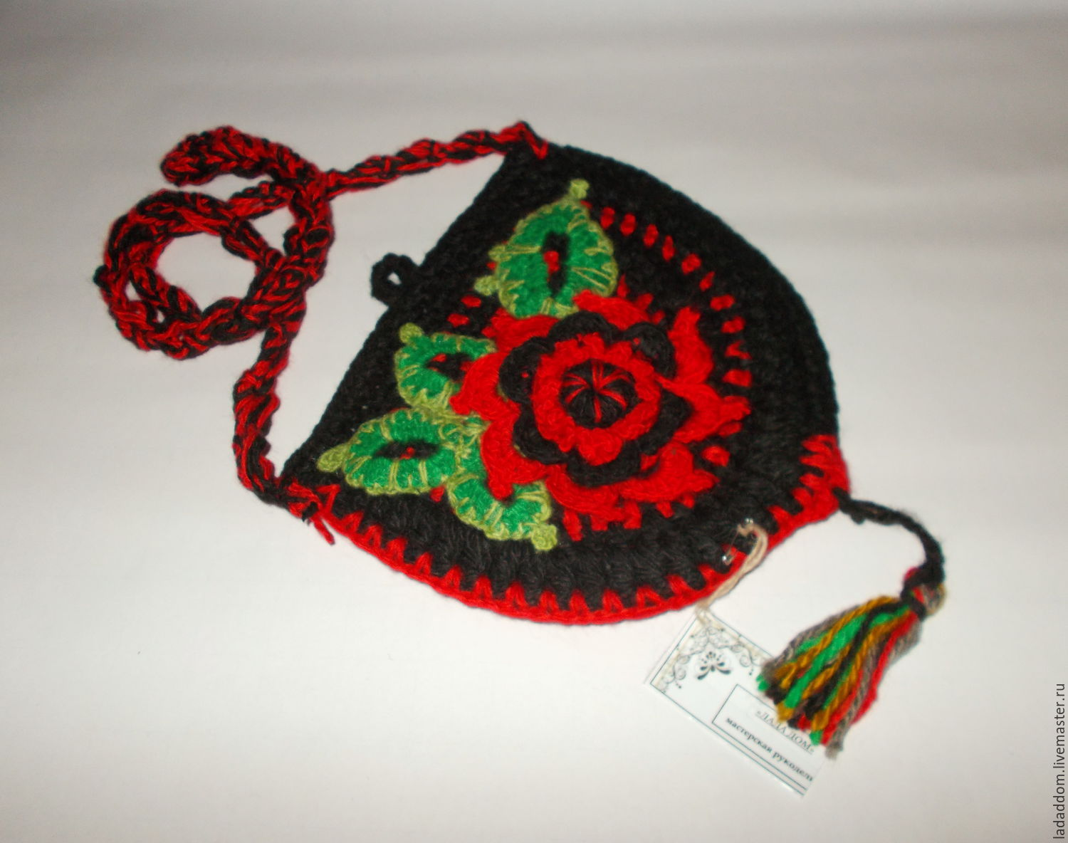 Crochet bag purse with floral decoration 2, Classic Bag, Dobryanka,  Фото №1