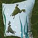Текстиль, ковры ручной работы. Заказать Подушка со шпорцевыми лягушками. Эмина Ядовитая (lamart). Ярмарка Мастеров. Аквариум, зеленый