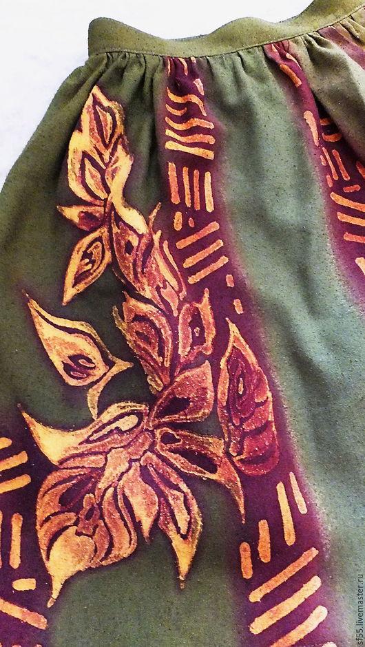 """Юбки ручной работы. Ярмарка Мастеров - ручная работа. Купить Юбка """" Листоцвет"""" из дикого шелка. Handmade. Оливковый"""