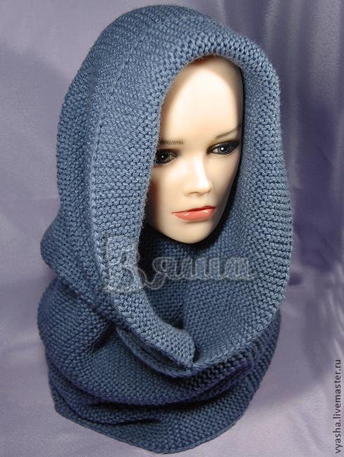 Шали, палантины ручной работы. Ярмарка Мастеров - ручная работа. Купить Снуд шарф женский Морской туман, хомут, вязаный, зимний. Handmade.