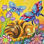 """Картины и панно ручной работы. Ярмарка Мастеров - ручная работа Картина """"Полосатый кот"""". Handmade."""