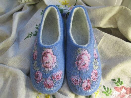 Обувь ручной работы. Ярмарка Мастеров - ручная работа. Купить Тапочки Вальс. Handmade. Голубой, шерсть для валяния