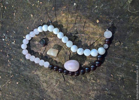 Четки ручной работы. Ярмарка Мастеров - ручная работа. Купить Четки из граната, розового кварца и лунного камня.. Handmade.