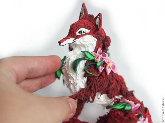"""Игрушки животные, ручной работы. Ярмарка Мастеров - ручная работа. Купить фигурка """"цветочная лиса"""" (сидит, лиса игрушка, лисичка). Handmade."""