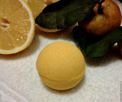 Бомбы для ванны ручной работы. Ярмарка Мастеров - ручная работа. Купить Бомбочка для ванн Сочный лимон. Handmade. Желтый, для ванны