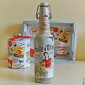 Посуда ручной работы. Ярмарка Мастеров - ручная работа Бутылка декоративная декупаж под масло в стиле Прованс. Handmade.