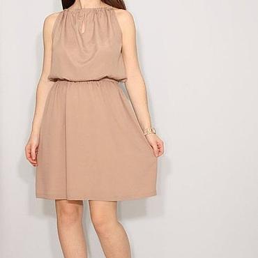 Одежда ручной работы. Ярмарка Мастеров - ручная работа Светло-коричневое платье из шифона,короткое летнее платье. Handmade.