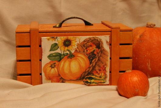 """Корзины, коробы ручной работы. Ярмарка Мастеров - ручная работа. Купить Короб ящик """"Запасы на зиму"""". Handmade. Рыжий"""