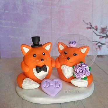Свадебный салон ручной работы. Ярмарка Мастеров - ручная работа Фигурки на торт Лисята. Handmade.