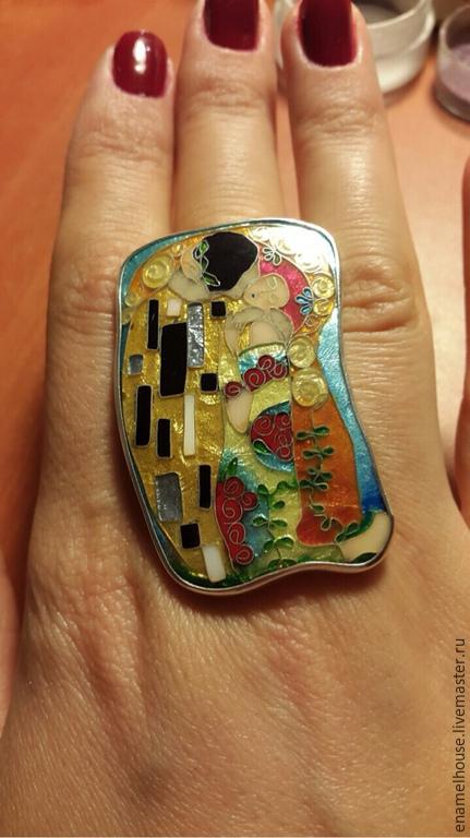 """Кольца ручной работы. Ярмарка Мастеров - ручная работа. Купить Кольцо """"Поцелуй"""". Handmade. Разноцветный, синий, оранжевый, минанкари"""