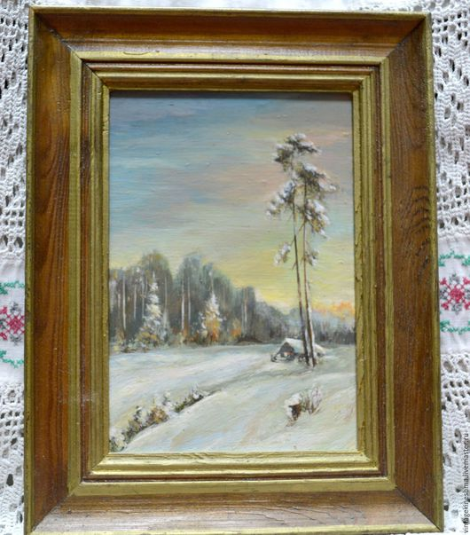 Пейзаж ручной работы. Ярмарка Мастеров - ручная работа. Купить Картина маслом Зимнее утро. Handmade. Комбинированный, зимий пейзаж
