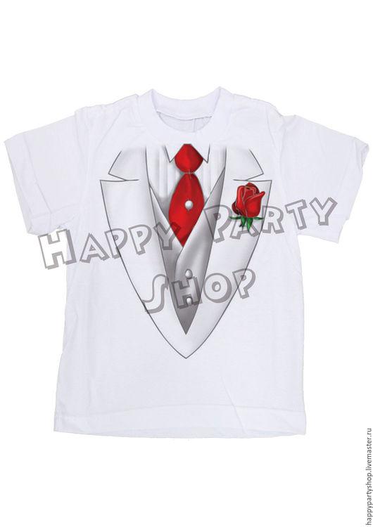 Одежда унисекс ручной работы. Ярмарка Мастеров - ручная работа. Купить Футболка с галстуком. Handmade. Белый, детская футболка