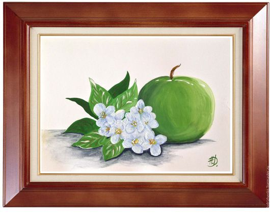 """Натюрморт ручной работы. Ярмарка Мастеров - ручная работа. Купить Картина """"Яблоневый цвет"""". Handmade. Зеленый, яблоневый цвет"""