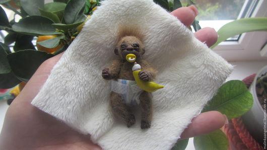 Коллекционные куклы ручной работы. Ярмарка Мастеров - ручная работа. Купить Мини обезьянчик Зулу. Handmade. Коричневый, мини