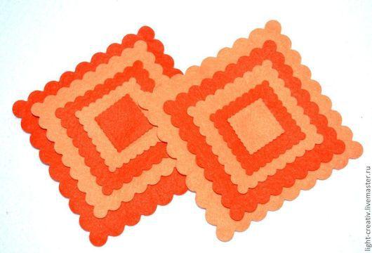"""Валяние ручной работы. Ярмарка Мастеров - ручная работа. Купить Вырубка из фетра """"Квадрат"""". Handmade. Оранжевый, фетр, квадраты из фетра"""