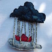"""Украшения ручной работы. Ярмарка Мастеров - ручная работа """"В дождь"""" текстильная брошь. Handmade."""