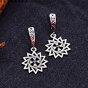 Русский стиль handmade. Livemaster - original item Earrings Star Artgame with cubic Zirconia. Silver 925. art. .1121601. Handmade.