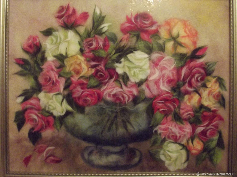 Картина из шерсти Букет роз, Картины, Москва,  Фото №1