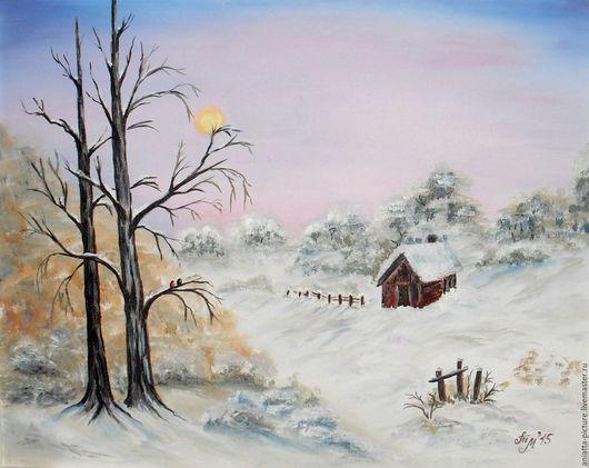 """Пейзаж ручной работы. Ярмарка Мастеров - ручная работа. Купить """"Чудо случится ночью"""". Handmade. Комбинированный, розовое утро, рассвет"""