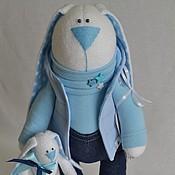 Куклы и игрушки ручной работы. Ярмарка Мастеров - ручная работа Заяц в голубом.. Handmade.