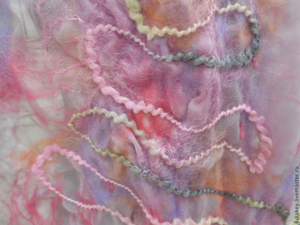Scarf tippet felted the Kingdom of dawn, Scarves, Moscow,  Фото №1