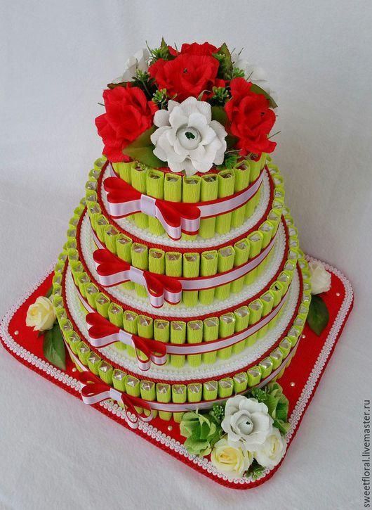 """Букеты ручной работы. Ярмарка Мастеров - ручная работа. Купить Торт с конфетами  """"Праздничный"""", в подарок. Handmade. Комбинированный, подарок женщине"""